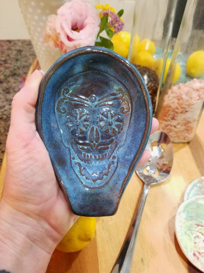sugarskull spoon rest cobalt