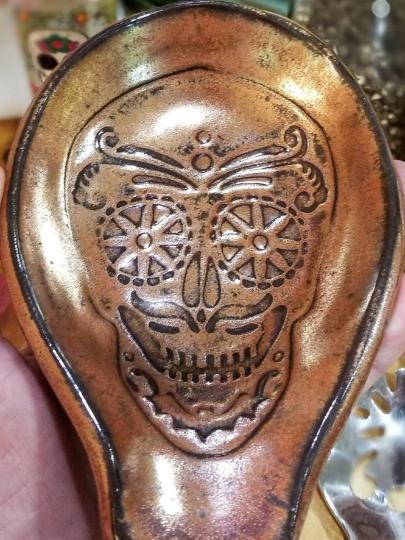 sugarskull spoon rest copper